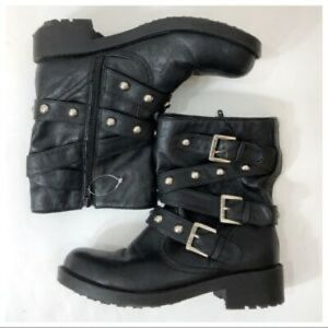 Guess black combat moto ankle boots buckle straps
